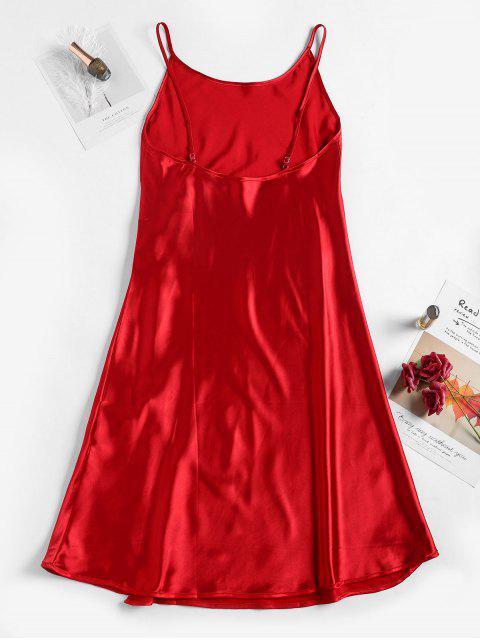 women's Satin Slit Cami Night Dress - RED L Mobile