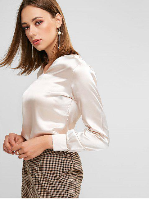 womens Satin V Neck Faux Pear Button Blouse - CHAMPAGNE L Mobile