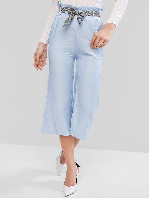 Paperbag cintura bolsillo del pantalón de pierna ancha - Azul S Mobile