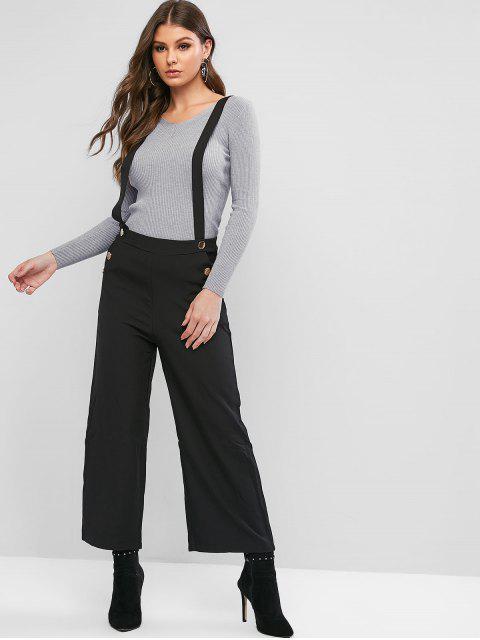 Tachonadas pantalones de la liga de pierna ancha - Negro M Mobile