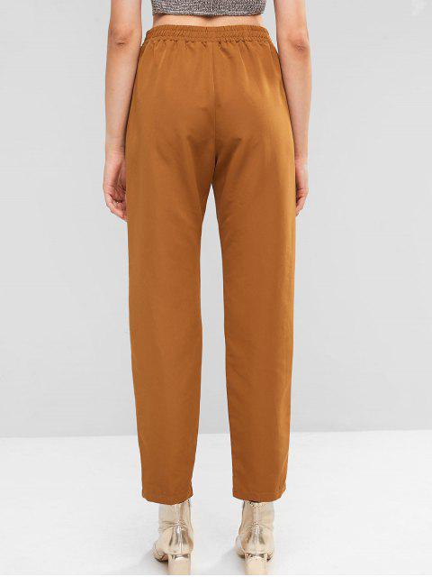 ZAFUL sólido de cintura alta carga pantalones rectos - Tigre Anaranjado L Mobile