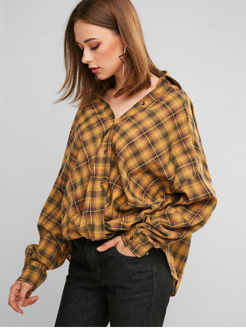 unique ZAFUL Button Down Plaid Twist Hem Shirt - ORANGE GOLD L Mobile
