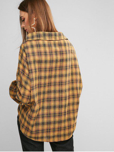 women's ZAFUL Button Down Plaid Twist Hem Shirt - ORANGE GOLD S Mobile