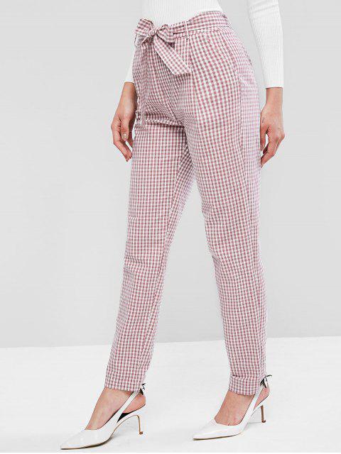 Pantalones con cinturón de tela escocesa ZAFUL mosca de la cremallera Peg Leg - Multicolor-A S Mobile