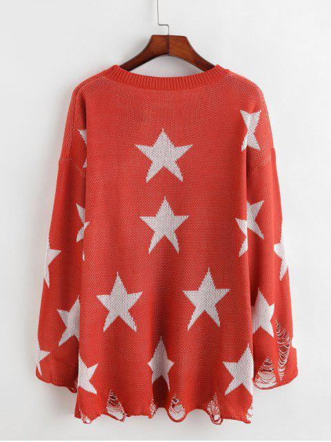 latest Crew Neck Distressed Stars Graphic Pullover Sweater - ORANGE L Mobile