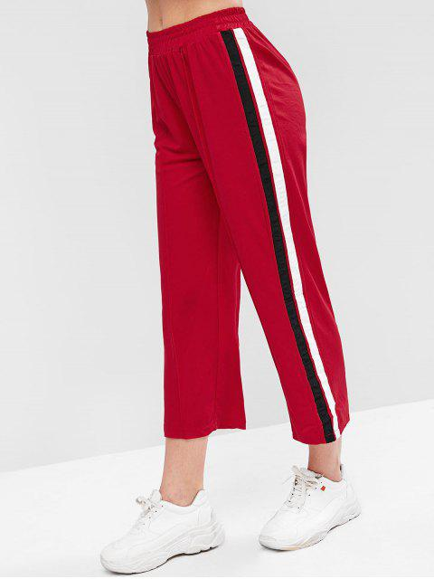affordable Striped Tape High Waisted Crop Pants - RED M Mobile