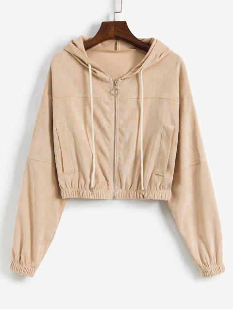 buy Faux Pockets Corduroy Crop Hooded Jacket - APRICOT M Mobile