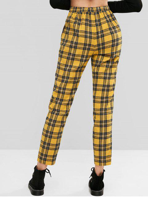 ZAFUL Plaid pantalones de cintura alta con bolsillos - Multicolor-A L Mobile
