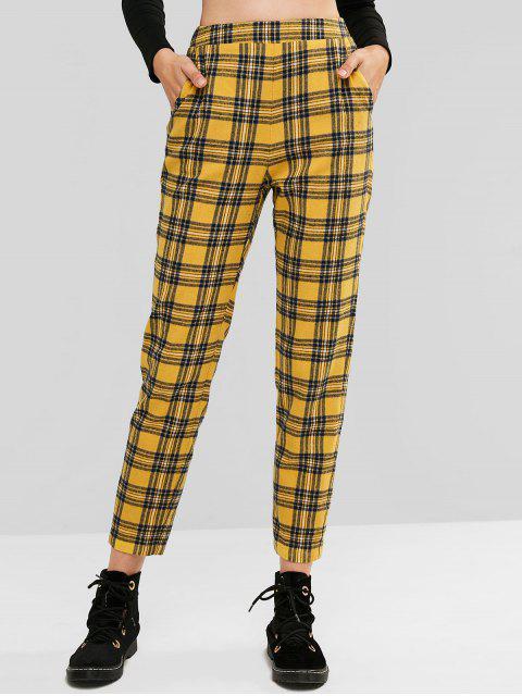 ZAFUL Plaid pantalones de cintura alta con bolsillos - Multicolor-A M Mobile