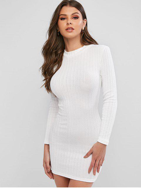 Robe Moulante Superposée Découpée en Couleur Unie - Blanc S Mobile