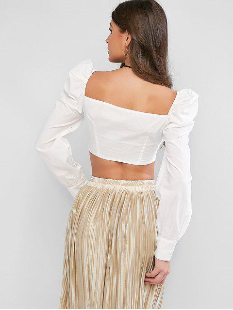 lady Lace Up Sweetheart Neck Milkmaid Crop Blouse - WHITE M Mobile