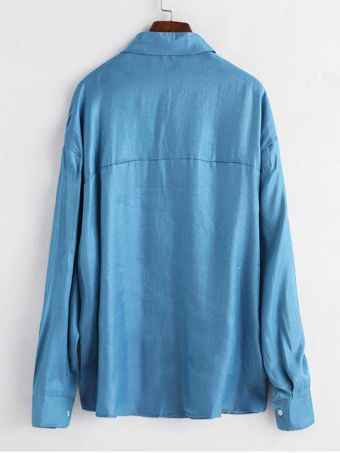 chic Shiny Longline Shirt - BLUE S Mobile