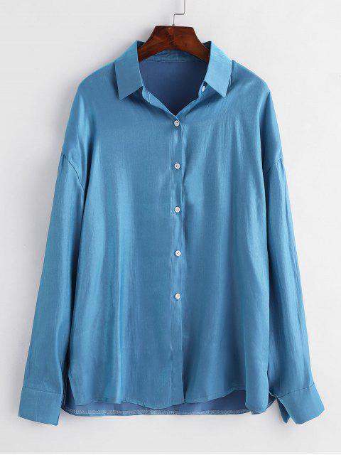 women's Shiny Longline Shirt - BLUE L Mobile