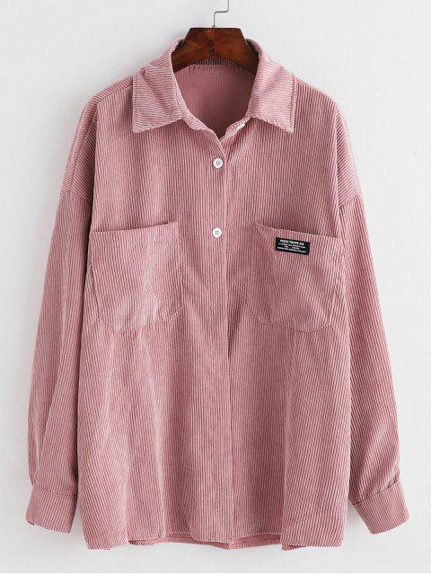 online Label Front Pocket Oversized Corduroy Shirt - PINK ONE SIZE Mobile