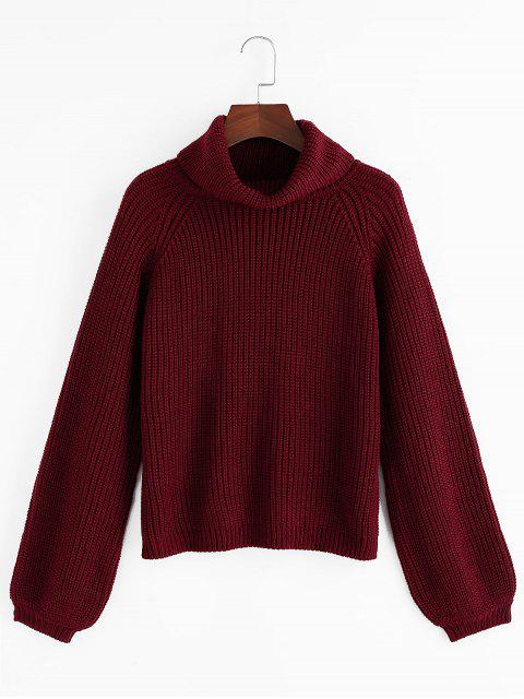 best ZAFUL Turtleneck Raglan Sleeve Jumper Sweater - RED WINE L Mobile
