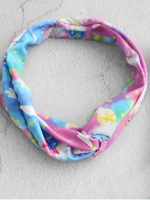 ZAFUL Tie Dye estrellada recorte Luna y el Sol una sola pieza del traje de baño - Multicolor-A S Mobile