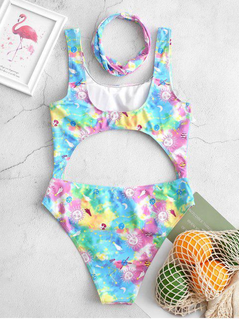 womens ZAFUL Tie Dye Starry Cutout Moon and Sun One-piece Swimsuit - MULTI-A L Mobile