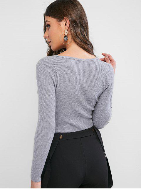 womens Ribbed Slim Knitted V Neck Sweater - GRAY CLOUD ONE SIZE Mobile