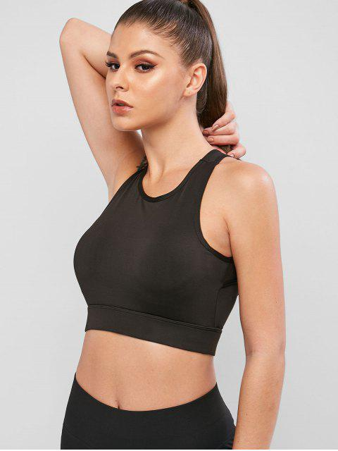 outfit Cut Out Padded Pullover Sport Bra - BLACK XL Mobile