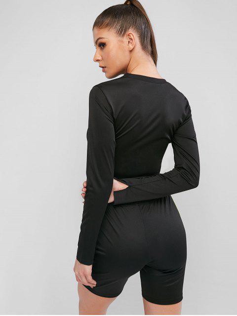 womens Neon Striped Athleisure Biker Shorts Set - BLACK L Mobile