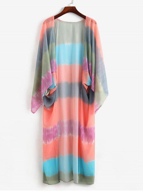 Dip Dye Открытый фронт Длинная Накидка - Многоцветный-A Один размер Mobile