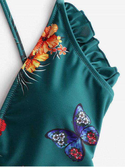 ZAFUL С оборкой Принт цветка и бабочки На шнуровке Слитный Купальник - Зелено-синий S Mobile