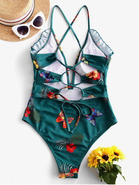 buy ZAFUL Frilled Floral Butterfly Lace-up One-piece Swimsuit - GREENISH BLUE M Mobile