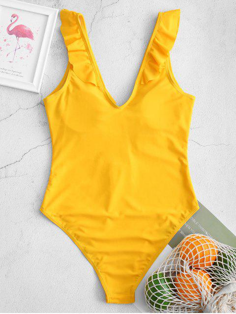outfits ZAFUL Plunge Ruffled Keyhole High Cut One-piece Swimsuit - BRIGHT YELLOW S Mobile