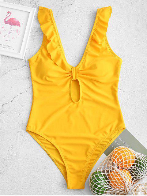 ZAFUL切入荷葉Keyhole的高切連體泳衣 - 亮黃的 L Mobile