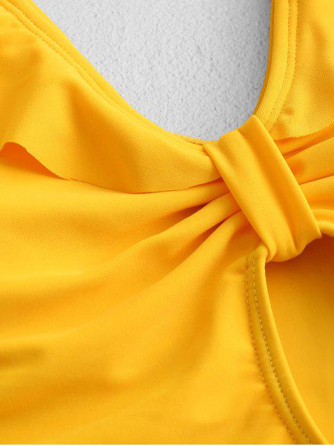 affordable ZAFUL Plunge Ruffled Keyhole High Cut One-piece Swimsuit - BRIGHT YELLOW L Mobile