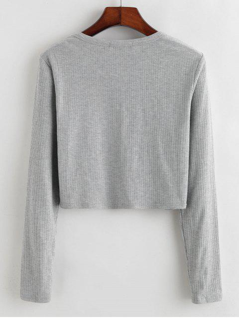 shops ZAFUL Half-zip Ribbed Crop Top - LIGHT GRAY XL Mobile