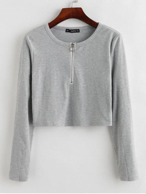 affordable ZAFUL Half-zip Ribbed Crop Top - LIGHT GRAY M Mobile