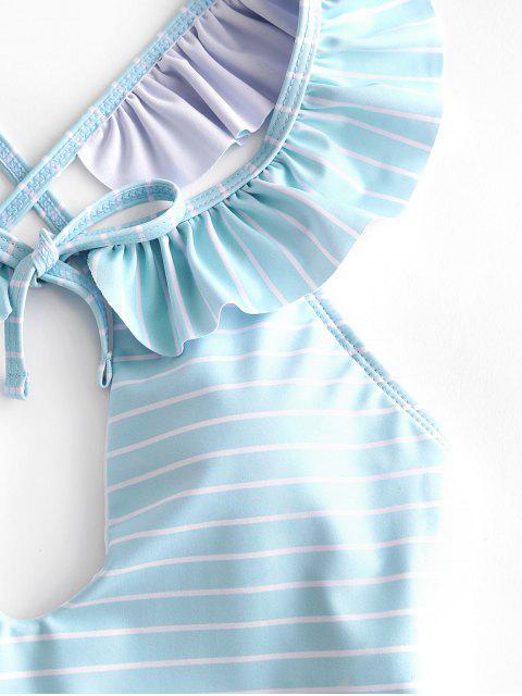 ZAFUL Полосатый принт На шнуровке С оборкой Слитный Купальник - Светло-синий M Mobile