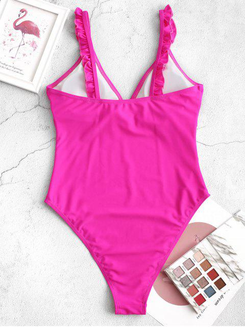 trendy ZAFUL Plunge High Cut Lettuce One-piece Swimsuit - DIMORPHOTHECA MAGENTA M Mobile