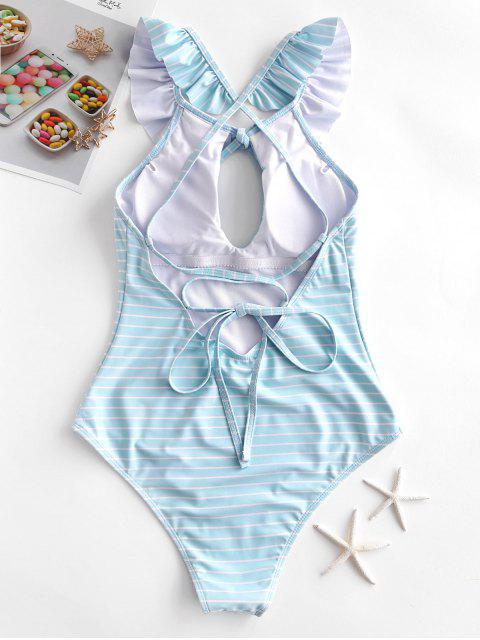 Hasta volante ZAFUL rayas de encaje de una sola pieza del traje de baño - Azul Claro XL Mobile