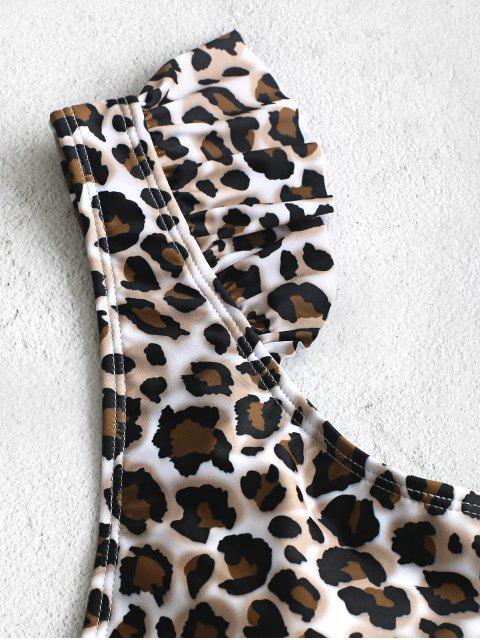 ZAFUL Принт леопарда С оборкой Глубокий воротник Слитный Купальник - Многоцветный-A L Mobile
