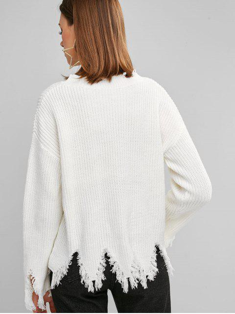 best ZAFUL Sharkbite Trim Frayed Drop Shoulder Sweater - WHITE ONE SIZE Mobile
