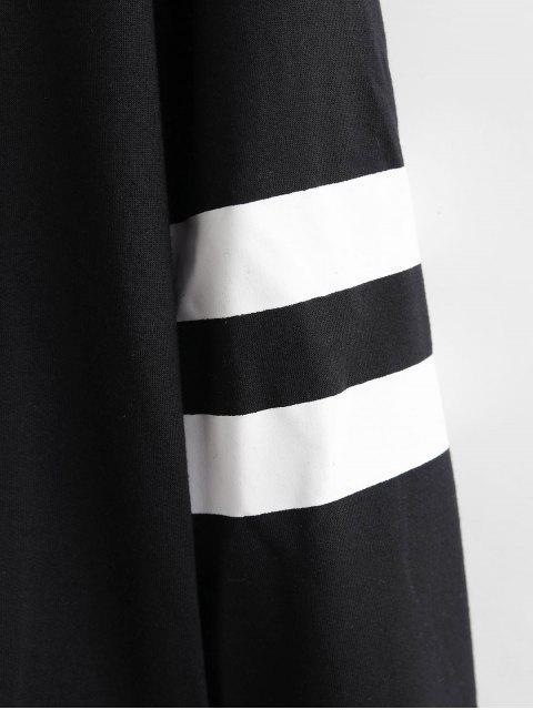 Rayas de flores de bordado Panel lazo capucha - Negro M Mobile