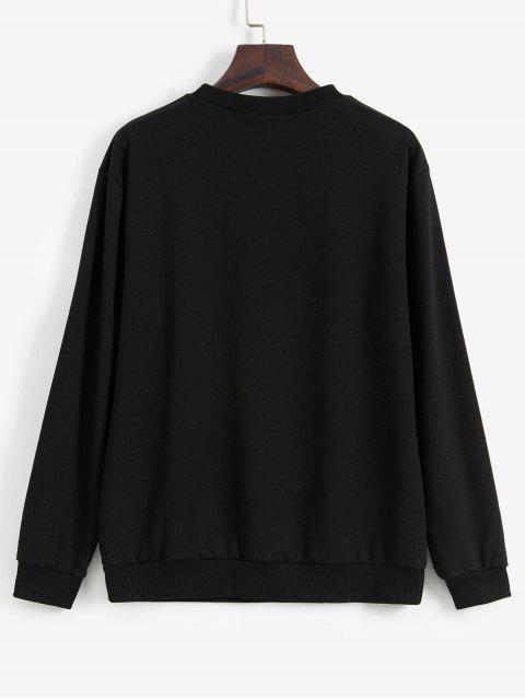 Carta del equipo gráfico de cuello suelta la camiseta - Negro L Mobile