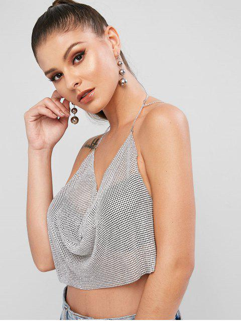 outfits Rhinestone Halter Cowl Front Beach Top - SILVER ONE SIZE Mobile