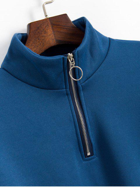 ZAFUL mit Fleece-Futter Farbe-blocking Quarter Zip Sweatshirt - Himmelblau S Mobile