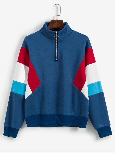 ZAFUL mit Fleece-Futter Farbe-blocking Quarter Zip Sweatshirt - Himmelblau L Mobile