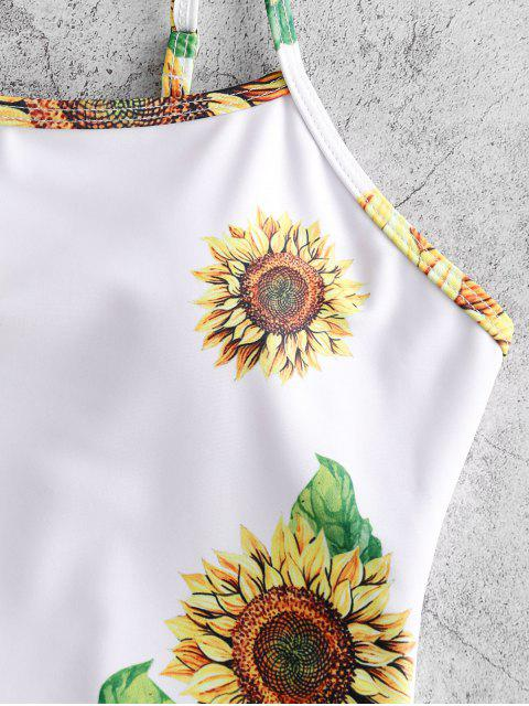 outfit ZAFUL Sunflower One-piece Swimsuit - WHITE M Mobile