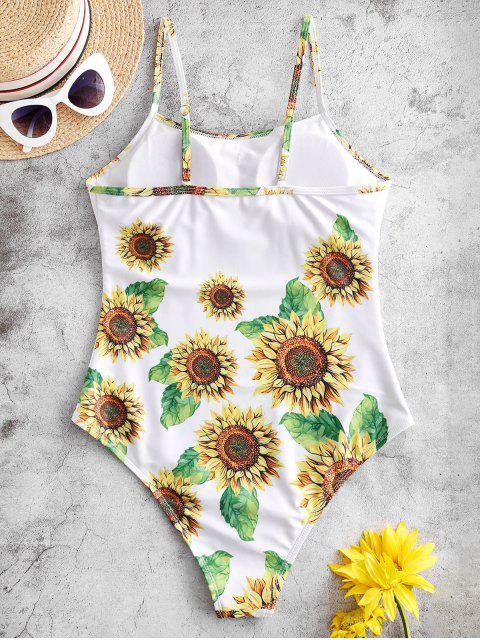 latest ZAFUL Sunflower One-piece Swimsuit - WHITE XL Mobile