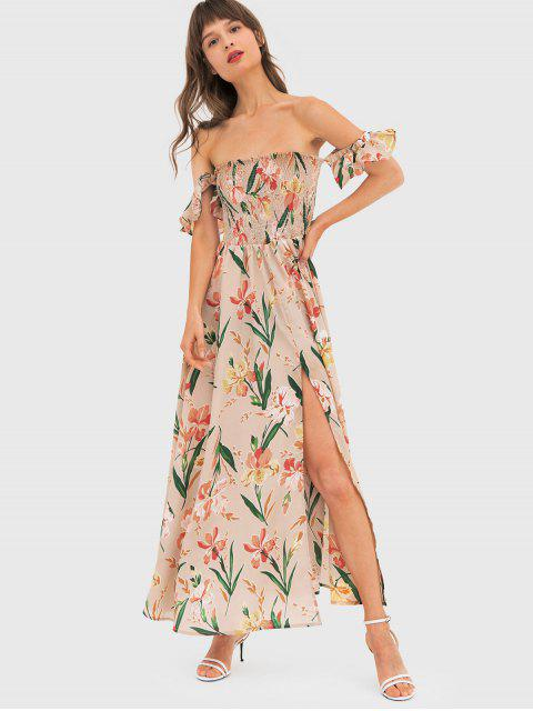 affordable Flower Smocked Off Shoulder Slit Dress - APRICOT M Mobile
