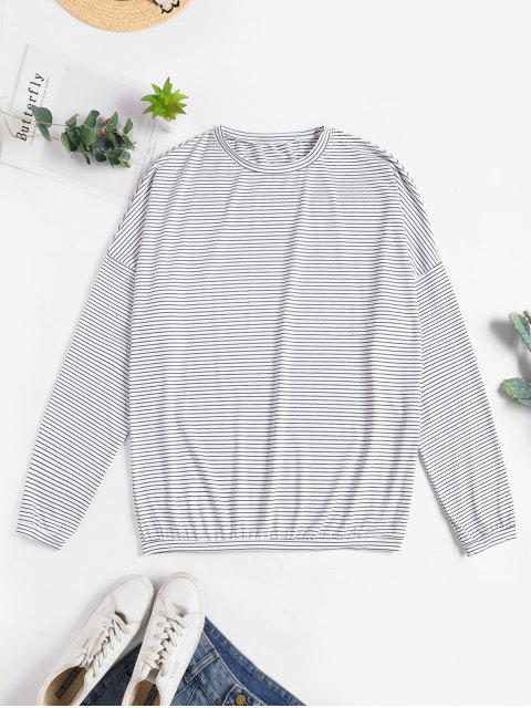 fancy Drop Shoulder Striped Loose T-shirt - WHITE ONE SIZE Mobile