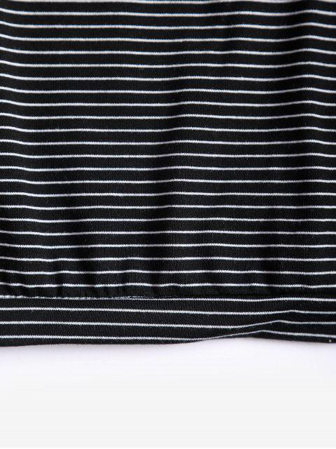 unique Drop Shoulder Striped Loose T-shirt - BLACK ONE SIZE Mobile