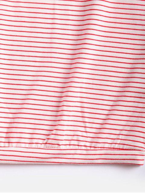 Camiseta Suelta a Rayas con Hombros Al Aire - Rosado Talla única Mobile