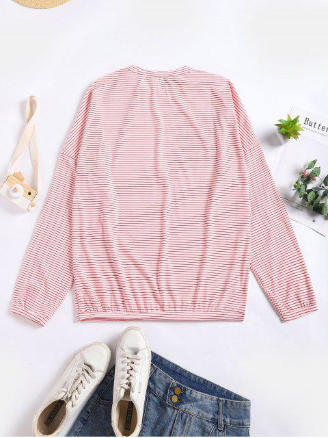 womens Drop Shoulder Striped Loose T-shirt - PINK ONE SIZE Mobile