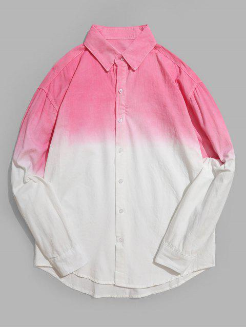 أومبير طباعة كم طويل منحني هيم أعلى أدنى قميص - زهري XS Mobile